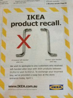 Ikea April Fools - good to see a company with a sense of humour! April Fools Day Jokes, Best April Fools, April Fools Pranks, Funny Commercials, Commercial Ads, Lol, Left Handed, The Fool, Laugh Out Loud