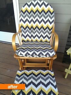 Before & After: A Cast-Off Glider Gets a Sunny, Springy Makeover | Apartment Therapy Recover Glider Cushions, Glider Slipcover, Glider Chair, Porch Glider, Chair Cushions, Chair Makeover, Furniture Makeover, Mixed Dining Chairs, Portable High Chairs