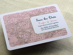 Vintage Wedding Save the Date Postcard - Vintage Map - Destination Travel Theme. $1.75, via Etsy.