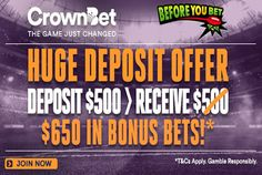 Before You Bet followers can now receive an enhanced welcome bonus of $650 at CrownBet! Check out our CrownBet Review for more information!