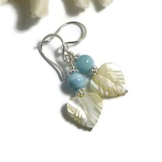 Larimar Earrings, Mother of Pearl, Sterling Silver, Blue Pectolite Earrings, Atlantis Stone, Dolphin Stone, Summer Earrings by GemstonesOnMyMind on Etsy