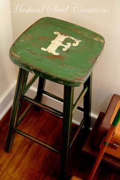 Our letter on a perfect shade of green stool!