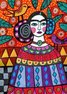 50% OFF-Mexican Folk art arte imprimir cartel por HeatherGallerArt