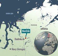 Norilsk, Siberia is situated 250 miles north of the Arctic circle, the average annual temp...