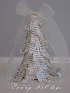 Sweet Boutique Home: Printed little tree  ~ This would be cute using Christmas hymn music sheets!