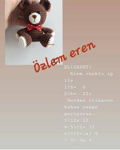 - Eveeet şirin bir tarifin çevirisini yaparak sizlerle paylaşı… I& sharing with you by translating a cute recipe from Eveeet. I hope you like and do it. Crochet Gifts, Crochet Toys, Crochet Baby, Crochet Patterns Amigurumi, Crochet Stitches, Crochet Handbags, Knitted Dolls, Crochet Hair Styles, Crochet For Beginners