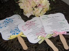 Wedding Fans with Program  set of 50 by wreathartist on Etsy