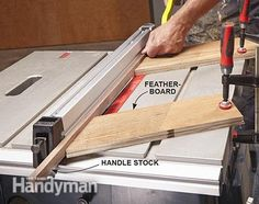 Cut bevels in the handle stock for the tool cabinet drawers. Get the plans for the Ultimate Tool Storage Cabinets:  http://www.familyhandyman.com/tools/storage/ultimate-tool-storage-cabinets/view-all
