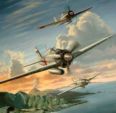Vintage Aircraft Patriotic War Aircraft Paintings of World War 2 Planes Paintings Ww2 Aircraft, Fighter Aircraft, Military Aircraft, Fighter Jets, Luftwaffe, Imperial Japanese Navy, War Thunder, Aircraft Painting, Airplane Art