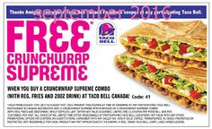 Taco Bell Coupons PROMO expires May 2020 Hurry up for a BIG SAVERS I am sure our team has found the latest taco bell coupon. Cigarette Coupons Free Printable, Free Printable Coupons, Free Printables, Taco Bell Coupons, Grocery Coupons, Love Coupons, Print Coupons, Taco Bell Canada, Free Coupons Online
