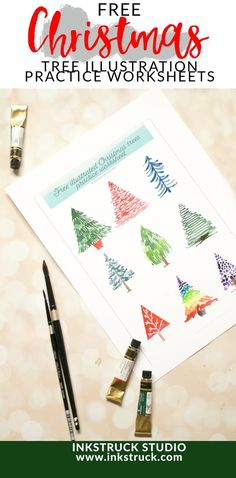 Download free watercolor Christmas tree practice worksheets that you can improve your skills with - Inkstruck Studio