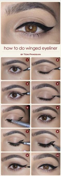How to do a winged eyeliner.