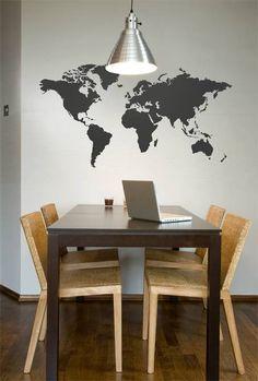 world map wall stickers Interior Decorating, Interior Design, Decorating Ideas, Inspiration Wall, Room Lights, Unique Home Decor, Office Interiors, Dorm Decorations, Beautiful Interiors
