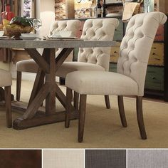 TRIBECCA HOME Benchwright Button Tufts Upholstered Rolled Back Parsons Chairs (Set of - Overstock Shopping - Great Deals on Tribecca Home Dining Chairs Kitchen Table Chairs, Farmhouse Dining Chairs, Dining Table Design, Upholstered Dining Chairs, Dining Room Chairs, Table And Chairs, Cream Dining Chairs, Outdoor Dining, Office Chairs