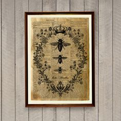 Insects print on a handmade antique dictionary page. Bee decor for home and office. 8.3 x 11.7 inches (A4) animal poster..  BUY 1 GET 1 FREE - use