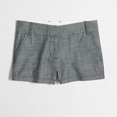 """J.Crew Factory 3"""" chambray short ($28) ❤ liked on Polyvore featuring shorts, j.crew, j. crew shorts, zipper shorts, short shorts and chambray shorts"""