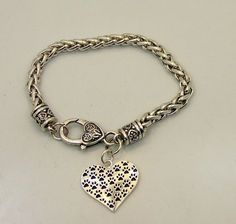Paw Print Heart Silver Plated Chain Bracelet Dog Puppy  #Chain