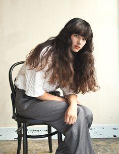 髪型 ヘアスタイル Permed Hairstyles, Pretty Hairstyles, Straight Hairstyles, Long Hair With Bangs, Long Wavy Hair, Cut My Hair, Her Hair, Wavy Hair Perm, One Length Hair