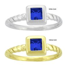 10k Gold Prong-set Synthetic Sapphire Contemporary Square Ring (Yellow Gold - Size 8), Women's, Blue