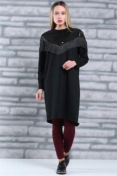 Tesettür Giyim Tunik Modelleri En Ucuz Fiyatlara En Kaliteli Ürünler Moda Sevinç'de ModaSevinç, 49,9 TL, Pul Detaylı Penye Tunik (Siyah)
