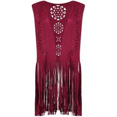 Ava Fringed Suedette Festival Waistcoat (35.475 IDR) ❤ liked on Polyvore featuring outerwear, vests, jackets, tops, vest waistcoat, waistcoat vest, fringe vest, purple vest and purple waistcoat