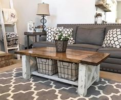 "Build this lovely DIY Chunky Farmhouse Coffee TableMaterials List:4 - 4x4s @8ft2 - 2x4s @ 8ft2 - 2x6 @ 8ft3 - 2x10 @ 8ftCut List:4 - 4x4s @ 16""4 - 2x4s @17""2 - 4x4s @ 19"" (45 degree)4 - 4x4s @ 8"" (45 dgree)3 - 2x6s @ 33""3 - 2x10s @ 36""2 - 2x10 @ 27"""
