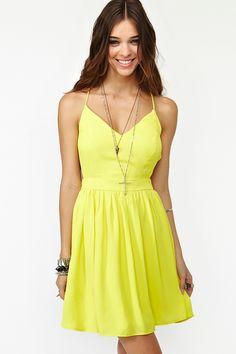 Crossed Chiffon Dress - Yellow  $58.00