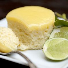 Baked Lime Pudding Cake...they look so light and airy! I want to try them with lemon :)