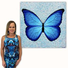 Butterfly - Joyful Wish Granter - Textured Painting . This Blue Butterfly represents so many meanings. The Butterfly is a spiritual symbol in many cultures all around the world. It can mean powerful transformation, rebirth, life cycle, playfulness, joy, wish granter, colour, lightness, and life's journey.