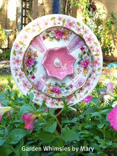 This is one of the prettiest plate flower garden art I've seen so far. Glass Garden Flowers, Glass Plate Flowers, Glass Garden Art, Flower Plates, China Garden, Ceramic Flowers, Garden Whimsy, Garden Junk, Dish Garden