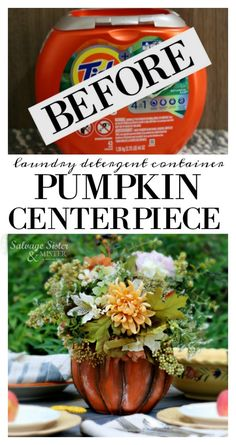Pod Container Pumpkin Centerpiece - Upcycle - Salvage Sister and Mister This little pod detergent container was just asking to be a pumpkin! Tide Pods Container, Coffee Container, Reuse Containers, Plastic Container Crafts, Plastic Pumpkins, Glitter Pumpkins, Halloween Pumpkins, Halloween Crafts, Halloween Decorations