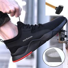 Level Men's Steel Toe Work Safety Shoes Casual Breathable Outdoor Sneakers Puncture Proof Boots Comfortable Industrial Shoes-in Work & Safety Boots from Shoes on AliExpress Casual Sneakers, Sneakers Fashion, Casual Shoes, Men Casual, Men Sneakers, Jordan Sneakers, Fashion Shoes, Steel Toe Safety Shoes, Steel Toe Shoes