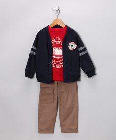 Take a look at this Nannette Red & Navy 'State Champion' Pants Set - Toddler by Rule the School: Boys' Apparel on #zulily ! #Fall Kids' Essentials!