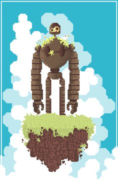 Robot from Castle In The Sky in the style of Fez
