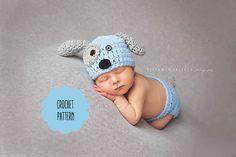 CROCHET PATTERN - Newborn puppy dog hat and diaper cover pattern, crochet puppy hat, newborn photo prop set pattern