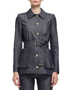 W0FGW Lanvin Military Jean Jacket, Blue Jean