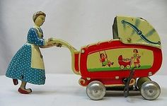 ZONE GERMANY metal woman pushing baby carriage windup litho tin toy in Toys & Hobbies, Diecast & Toy Vehicles, Boats & Ships, Vintage Manufacture Décor Antique, Antique Toys, Metal Toys, Tin Toys, Vintage Tins, Vintage Dolls, Old School Toys, Dolls Prams, Baby Carriage