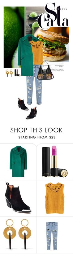 """""""River Tigris"""" by kokafor934 ❤ liked on Polyvore featuring FRUIT, Tagliatore, Lancôme, AllSaints, Jeffrey Campbell, H&M, Marni, Gucci, stylemission and SM8"""