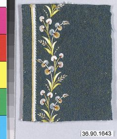 Sample Date: early 19th century Culture: French Medium: Silk on felt Dimensions: L. 3 7/8 x W. 3 inches 9.8 x 7.6 cm Classification: Textiles-Embroidered Credit Line: Gift of The United Piece Dye Works, 1936