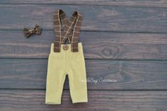Newborn Photography Pants  Upcycled Caramel Suspenders with Brown Plaid Overalls and Bow Tie by ToodleBugCreations, $26.50