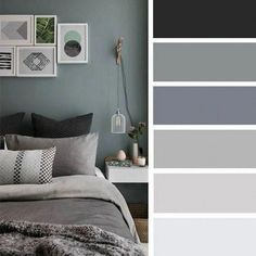 12 best color schemes for your bedroom - grey color scheme for bedroom deco Grey Bedroom Colors, Bedroom Colour Palette, Bedroom Color Schemes, Gray Bedroom, Bedroom Decor, Interior Design Color Schemes, Bedroom Wall, Room Color Ideas Bedroom, Master Bedroom