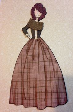 Claire from Outlander paper doll bookmark. Made using Julie Nutting's Marisol doll stamp.