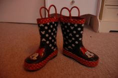 12-18-24 MONTHS BABY GIRLS UK SIZE 5 RED MINNIE MOUSE WELLIES WELLINGTON BOOTS |