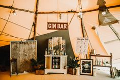 Gin Bar At Wedding // Bride In The Row For Bohemian Wedding In The Cotswolds With PapaKata Tipi And Ceremony At Merriscourt With Images From Carla Blain Photography Wedding Props, Wedding Bride, Our Wedding, Wedding Ideas, Pimp Your Gin, Wedding Drink Menu, Gin Bar, Luxury Tents, Magical Wedding