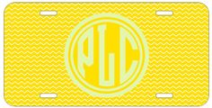 Personalized Monogrammed Chevron Yellow License Plate Custom Car Tag L343