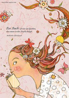 """Digitaldruck - Poster """"Ein Buch ist wie ein Garten..."""", A2 - ein Designerstück von selda bei DaWanda"""