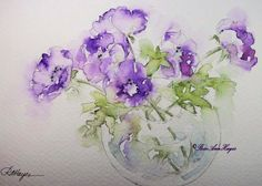 Purple Anemones Watercolor Painting by RoseAnn Hayes, prints are available in Etsy shop, Flowers, Floral