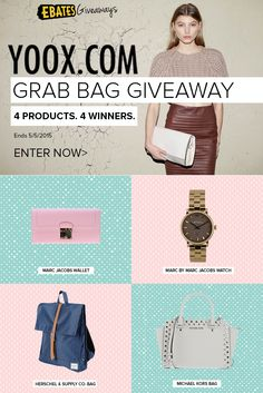 We've teamed up with YOOX to giveaway four fashionable accessories to four fabulous winners. Complete your look with either a bag, wallet, watch or purse!