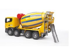 The Scania R-Series Cement Mixer Truck from the Bruder Truck collection - Discounts on all Bruder Toys at Wonderland Models.    One of our favourite models in the Bruder Trucks range is the Bruder Scania R-Series Cement Mixer Truck.    This Garbage Truck features a working crank-operated rotating drum, opening cab door, a cab that tilts forward to reveal a detailed engine, a drum-fed movable chute, a clear windscreen and soft, treaded tyres.