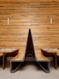 Reclaimed wood from old barn beams was used for the table tops and banquet seating.